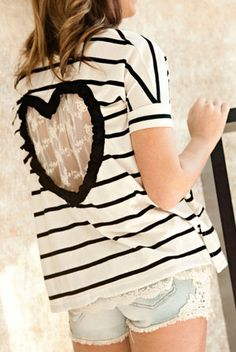 Heart Cut out T-Shirt  Size Small Upcycled Heart T-Shirt  Back Cut Out T-Shirt. $46.00, via Etsy.