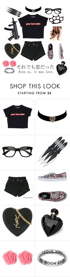 """""""Another yandere outfit"""" by supernova-1000 ❤ liked on Polyvore featuring ZeroUV, Iron Fist, Levi's, Vans, Yves Saint Laurent, Lipsy, Dollydagger and Primrose"""