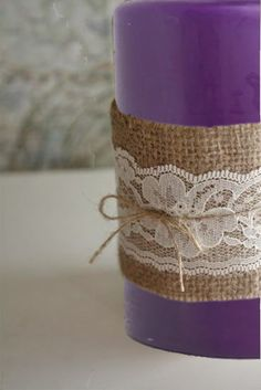 Burlap wrapped purple candle