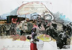 """Laws on co-operation and development II"" by Willie Bester, a Cape Town artist whose mixed media works draw on the memories and lingerings of South African political history."