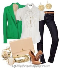 """""""Green Blazer"""" by uniqueimage ❤ liked on Polyvore"""
