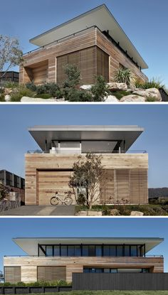 Smart Design Studio have designed the Lamble Residence, a house that overlooks a beach located on the south coast of New South Wales, Australia. this could work, completely different look Australian Architecture, Architecture Plan, Residential Architecture, Clad Home, Rooftop Design, Caribbean Homes, Dream Beach Houses, Unusual Homes, Modern Exterior