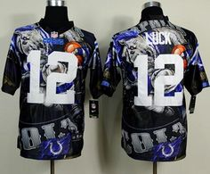 """$45.88 at """"MaryJersey""""(maryjerseyelway@gmail.com) Nike Colts #12 Andrew Luck Team Color Men's Stitched NFL Elite Fanatical Version Jersey"""