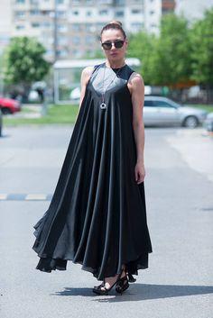 New Collection Black Maxi Dress Satin Black Kaftan
