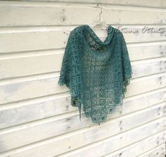 Hand knit lace shawl, teal emerald scarf, gift for women, triangular wrap on Etsy, $139.00