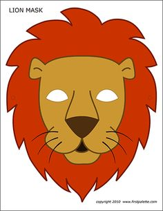 LION MASK - two free lion masks to print, a bw mask to color, and a colored lion mask. animals silly animals animal mashups animal printables majestic animals animals and pets funny hilarious animal Animal Mask Templates, Printable Animal Masks, Printable Halloween Masks, Circus Crafts, Mascaras Halloween, Daniel And The Lions, Masque Halloween, Lion Craft, Lion Mask