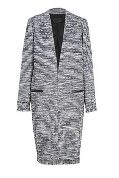 Textured edge to edge coat with fringe detail and leather trim welt pockets. This coat is the ideal layering piece with navy and white fleck fabric.    Sizes are Australian. AUS 4 = US 1; AUS 6 = US 2; AUS 8 = US 4; AUS 10 = US 6; AUS 12 = US 8; AUS 14 = US 10; AUS 16 = US 12; AUS 18 = US 14; AUS 20 = US 16   Fleck Coat by Morrison. Clothing - Jackets, Coats & Blazers - Coats Australia