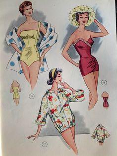 lutterloh swimsuit pattern vintage in 2019 винтажные к Vintage Bathing Suits, Vintage Swimsuits, Vintage Dresses, Vintage Outfits, Patron Vintage, Fashion Artwork, Swimsuit Pattern, Mode Vintage, Lingerie