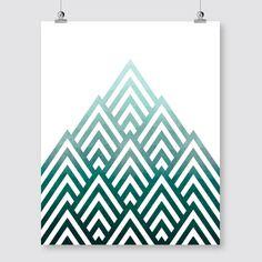 geometrische abstrakte Kunst Druck blaugrün digital download Mountain Dreiecke Wand Kunst Dekor Poster druckbare digitale print Pdf sofortiges Download jpg