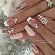 ✨ Ivory-Nude, French with Crystals and Rosegold Glitters on Coffin Nails ? … ✨ Ivory-Nude, French with Crystals and Rosegold Glitters on Coffin Nails ? Mauve Nails, Rose Gold Nails, Pink Nails, Toe Nails, Coffin Nails, Ivory Nails, Perfect Nails, Gorgeous Nails, Pretty Nails