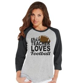 Custom Party Shop Womens Football Lover Teacher Raglan Shirt