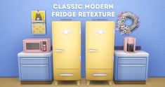"""treefish: """" classic modern fridge retexture i loved this refrigerator at first glance, but the brushed metal texture made it hard for me to pair it with other kitchen essentials so i found myself giving it a bit of a makeover. the new texture is..."""