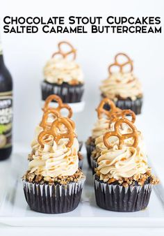 Lookign for THE BEST Father's Day dessert? Look no more. Chocolate Stout Cupcakes with Salted Caramel Buttercream is the perfect cupcake for your dad!