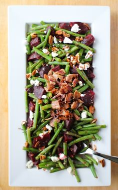 "Sauteed green beans and beets with bacon, pecans, goat cheese, and balsamic reduction. Chitty chitty bang bang! I've been tapping the side dishes like Fred Astaire. Except my version of ""tapping"" i..."