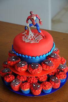 cupcake spiderman cake