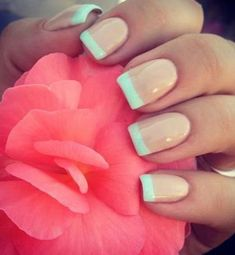 17 Fashionable Mint Nail Designs for Summer: #3. Mint French Nail Design