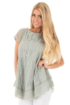 Lime Lush Boutique - Dusty Sage Lace Overlay Short Sleeve Tunic Blouse, $44.99 (https://www.limelush.com/dusty-sage-lace-overlay-short-sleeve-tunic-blouse/)