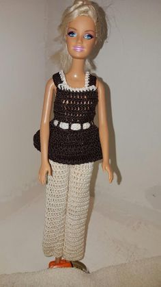 Crochet Barbie Dress Fashion Doll Crocheted by GrandmasGalleria ♡