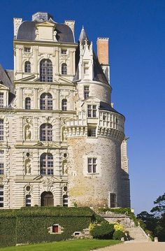 The Chateau de Brissac ~ a curious mixture. Medieval towers and newer sections from the 1600s in Loire Valley,France