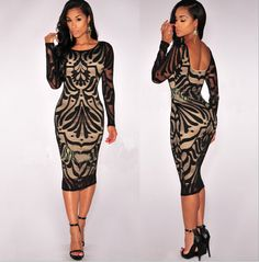 FAST SHIPPING 2016 New Fashion Women's Sexy Black Lace Backless Bodycon Dress