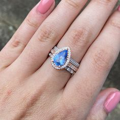 Dream Engagement Rings, Rose Gold Engagement, Halo Diamond Engagement Ring, Pear Diamond, Diamond Cuts, Ceylon Sapphire Ring, Cute Rings, Pear Shaped, Dream Nails