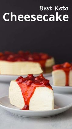 """""""The result is a subtly sweet cheesecake that should serve at least 16 people. It is a tall cake so a thin slice is very filling."""" Best Keto Cheesecake – You must try this recipe.  #keto #ketodiet #ketorecipes #ketogenic #ketogenicdiet #ketogenicrecipes #lowcarb #lowcarbrecipes"""