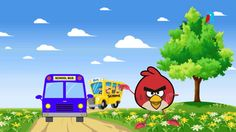 The Wheels on the Bus go round and round - 3D Animation English rhyme