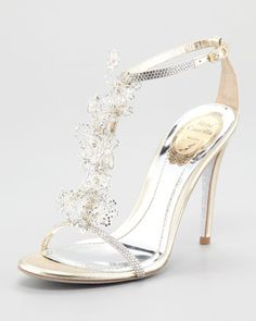 Dream Wedding Shoe. What I would picture Cinderella wearing!! #FootArt >>>> Lace T-Strap Sandal by Rene Caovilla at Neiman Marcus.