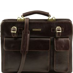 Dark Brown Leather Business Bag.On the front part there are straps to fasten an umbrella or newspaperRigid structureTwo flap over pockets for diary, mobile-phone, calculator, etc, with closureInside 2 compartmentsCredit card holderInside zip pocketB -