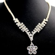 Numerous Flower Crystal Party Earring Gift Box Silver Tassel Necklace Set NS2192