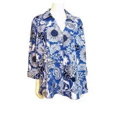 Coldwater Creek Paisley Button Down Blouse Shirt Top 3X Plus 100% Cotton BL123 #ColdwaterCreek #ButtonDownShirt #Career
