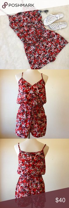 "Banana Republic Print Romper Banana Republic Romper🔹Adjustable straps🔹V-neck snap neckline🔹100% rayon🔹Machine wash cold🔹Elasticized waist with tie🔹Size M: 30"" Waist, 31"" length, 36"" bust Size L: 32"" waist, 38"" bust, 31"" length🔹Color; Red, black & white🔹Hip pockets🔹No trades🔹Smoke free home🔹Please visit our dear friend 🔹Molinda @molinda25🔹Thank you for stopping by💕 Banana Republic Pants Jumpsuits & Rompers"