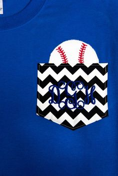 Short Sleeve Monogrammed Chevron Pocket Tshirt with Baseball by BurlapandLaceSC1, $20.00
