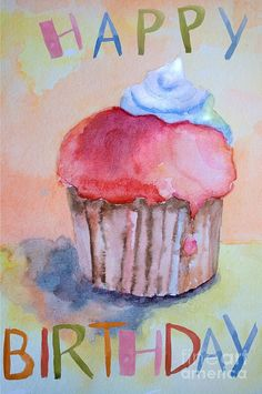 Best Birthday Quotes : QUOTATION – Image : As the quote says – Description Watercolor illustration of cake by Regina Jershova Happy Birthday 1, Happy Birthday Cupcakes, Happy Birthday Quotes, Happy Birthday Images, Happy Birthday Greetings, Birthday Pictures, Birthday Messages, Hawaiian Birthday, July Birthday