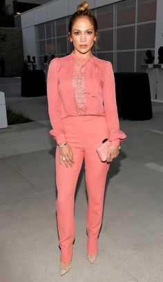 Jennifer Lopez in a coral Elie Saab blouse and pants