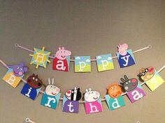 Handmade Peppa pig happy birthday banner via Etsy Peppa Pig Happy Birthday, Girl Birthday Themes, Pig Birthday, Third Birthday, Happy Birthday Banners, 3rd Birthday Parties, Birthday Ideas, George Pig Party, Cumple Peppa Pig