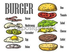 白い背景の上のハンバーガー食材。コンポーネントを描いた分離色を設定します。ビンテージ彫刻イラスト…
