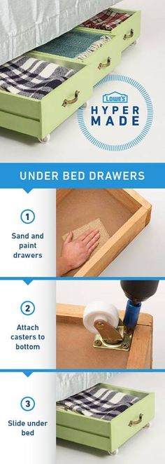 fabulous ways to repurpose old dresser drawers Transform old dresser drawers into the perfect storage solution for under your bed.:Transform old dresser drawers into the perfect storage solution for under your bed. Old Dresser Drawers, Under Bed Drawers, Painted Drawers, Under Bed Storage, Toy Storage, Storage Drawers, Extra Storage, Craft Storage, Dresser Drawer Organization