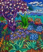 """: Seaside Flowering Tree, 20"""" x 24"""", Oil by Cathy Carey ©2014"""