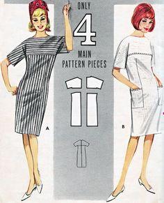1960s Dress Pattern Butterick 3027 Mod Yoked Shift by paneenjerez, $16.00