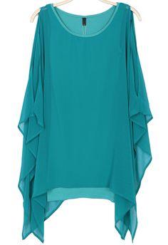 Green Cape Long Sleeve Chiffon Dress EUR€23.92