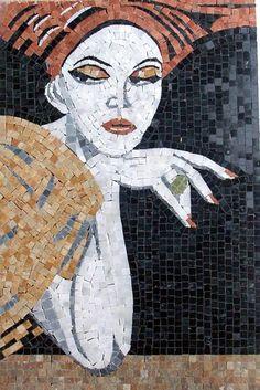 Mosaic female portrait by Pasquale Roscigno            #mosaic #portrait