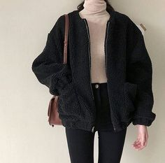 fuzzy black jacket peach turtleneck follow my insta @artfromva
