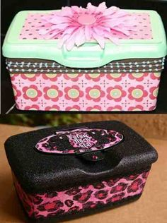 Decorative boxes made from baby wipe containers