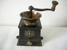 Decorative Victorian cast iron and brass J & J Siddons No. 1 Coffee Grinder