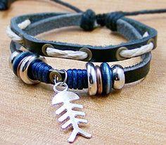 Leather bracelet jewellery charm bracelets for men by edwinating, $7.50