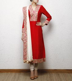 Panisha's Latest Indian Pakistani anarkali Red Raw Silk Kurta Set Designer R. Pakistani Outfits, Indian Outfits, Pakistani Clothing, Indian Clothes, India Fashion, Asian Fashion, Latest Fashion, Women's Fashion, Indian Attire