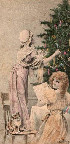 Victorian girls trimming tree.