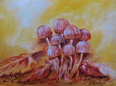 Mushrooms, sienet. Acrylicpainting.