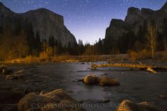 Stars, sky, mountains, river